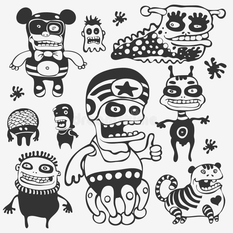 Caracteres divertidos fijados stock de ilustración