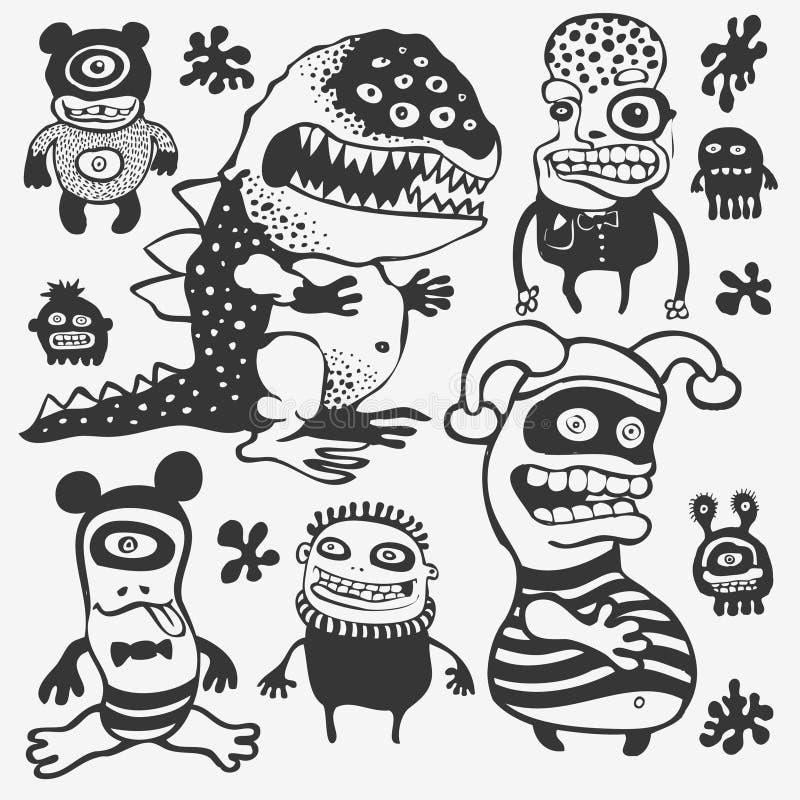 Caracteres Divertidos Fijados Imagenes de archivo