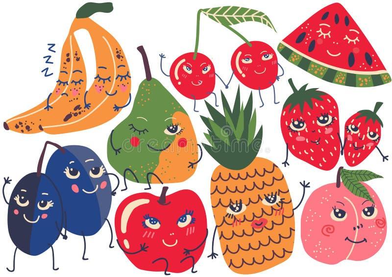 Caracteres divertidos sistema, plátano, ciruelo, pera, cereza, piña, fresa, melocotón, ejemplo de la fruta del vector de la sandí libre illustration