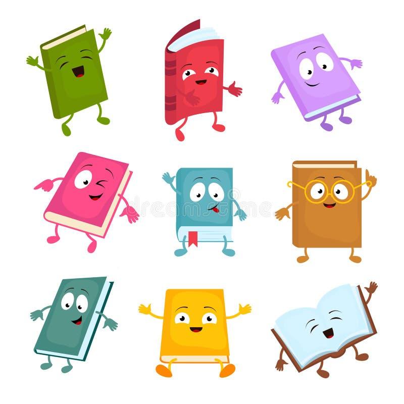 Caracteres divertidos y lindos del vector del libro de la historieta Mascotas felices de los libros de la biblioteca fijadas ilustración del vector