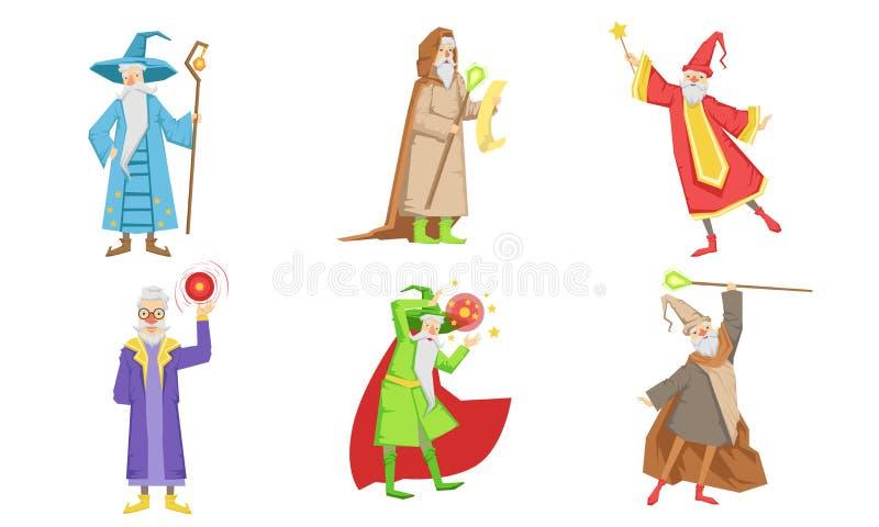 Caracteres do Assistente de Fairytale Antigo, Mago Masculino ou Warlock na Ilustração de Vetor de Assistentes de Prática de Chapé ilustração stock