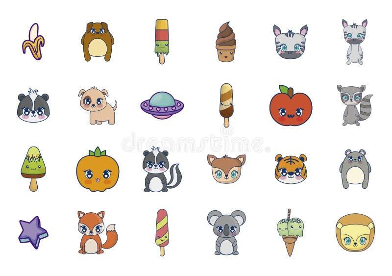 Caracteres dulces y adorables del sistema del kawaii stock de ilustración