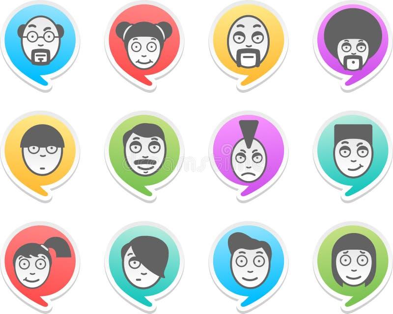 Caracteres en burbujas ilustración del vector