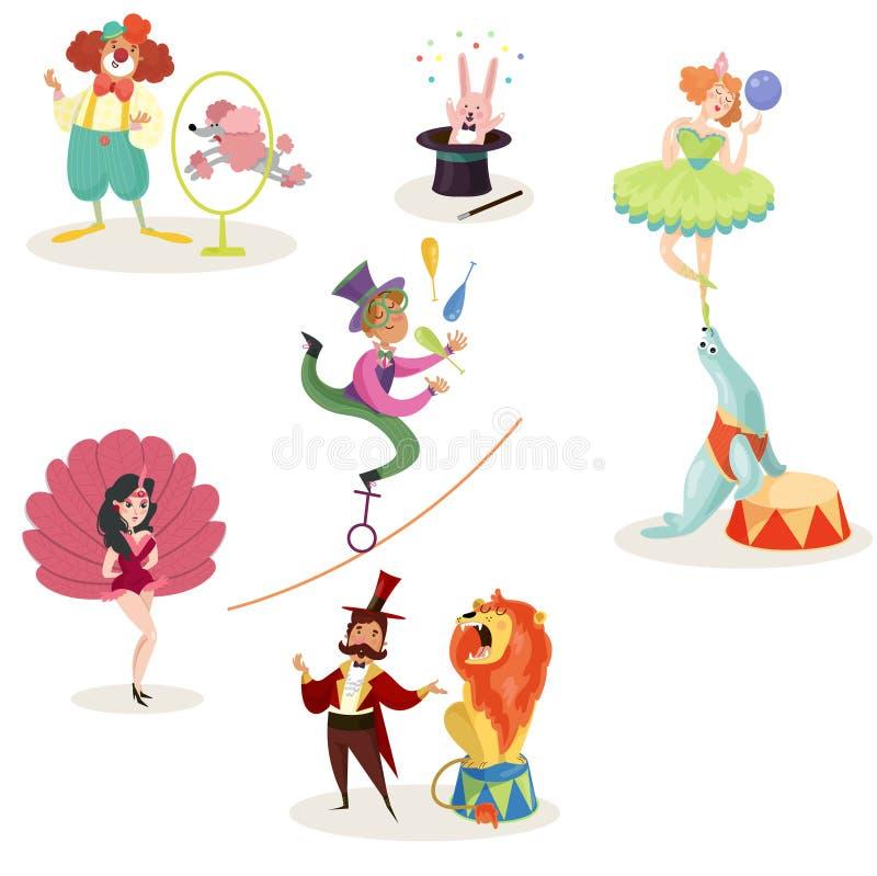 Caracteres en ejecutantes y animales de circo en diversas acciones Demostración del carnaval Sistema de los elementos decorativos stock de ilustración
