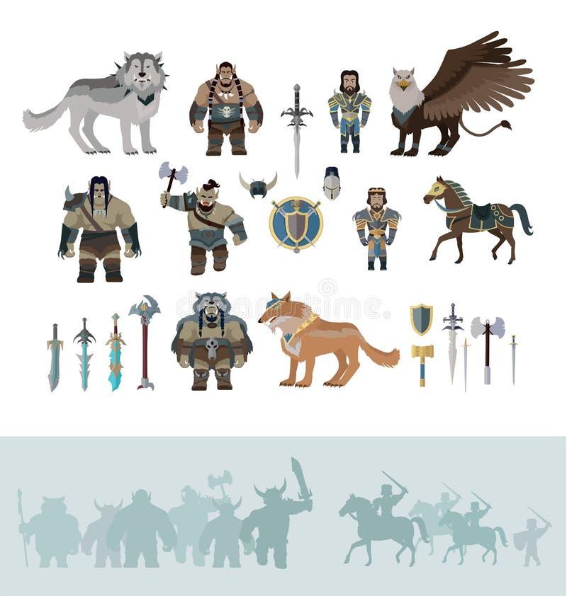 Caracteres estilizados de la fantasía libre illustration