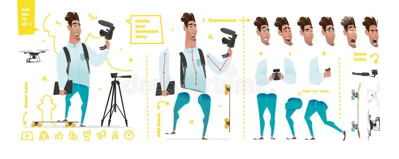 Caracteres estilizados fijados para la animación stock de ilustración