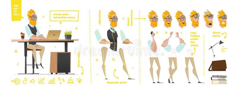 Caracteres estilizados fijados para la animación ilustración del vector