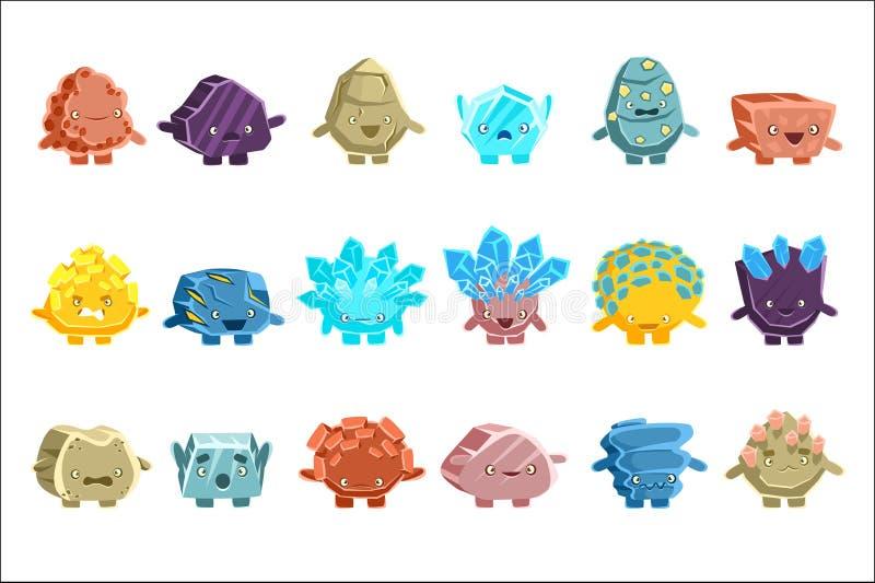 Caracteres fant?sticos extranjeros del Golem de diversas rocas humanizadas con las etiquetas engomadas amistosas de Emoji de las  libre illustration