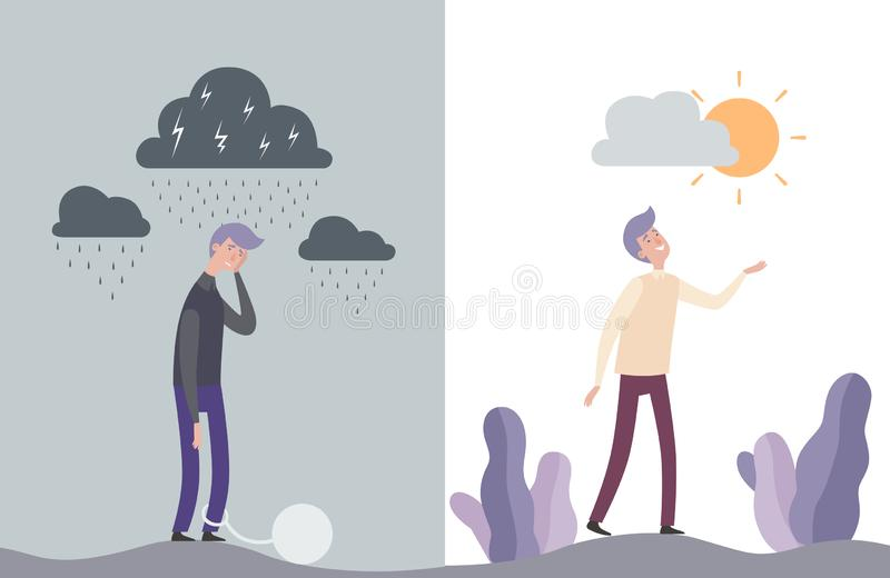 Caracteres felices e infelices del hombre Ejemplo mental del vector de la salud humana ilustración del vector