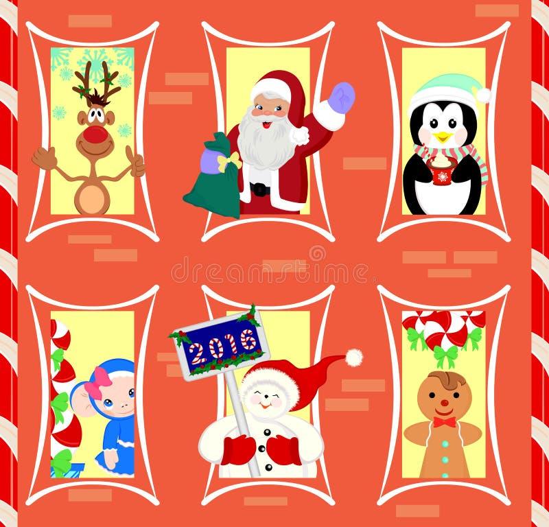 Caracteres habitados de la Navidad de la casa de pan de jengibre ilustración del vector