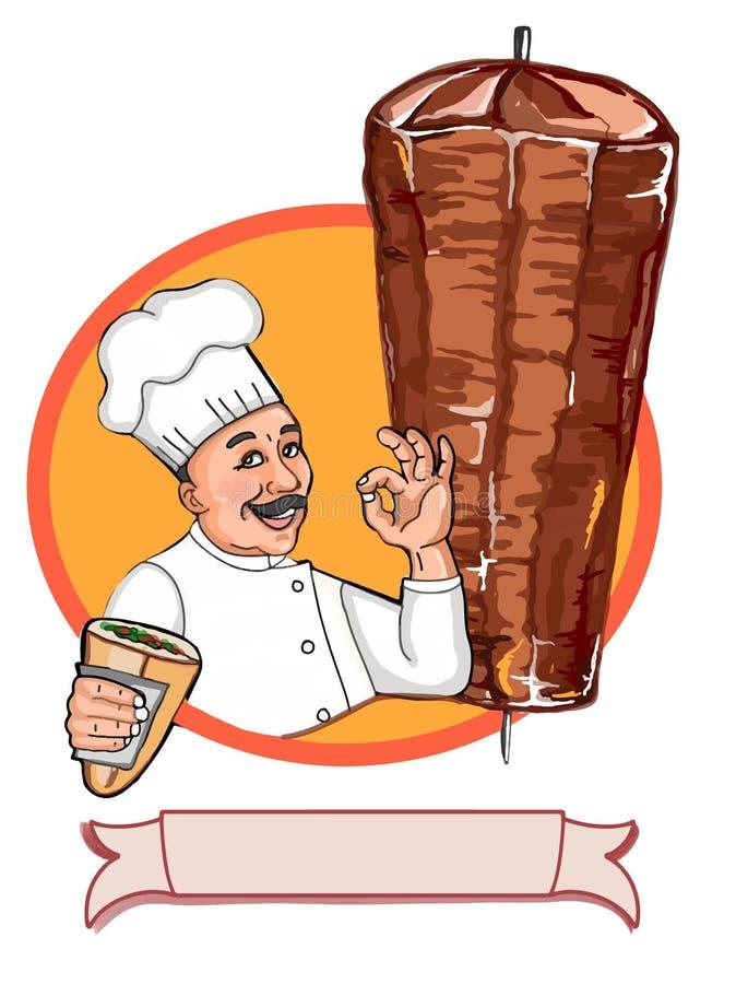 Caracteres historieta y autorización del cocinero y con pan del doner y fondo del círculo del döner y fondo del blanco del carác ilustración del vector