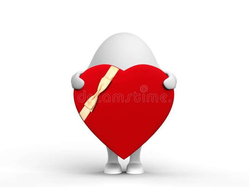 Caracteres lindos 3D con una tarjeta del día de San Valentín libre illustration