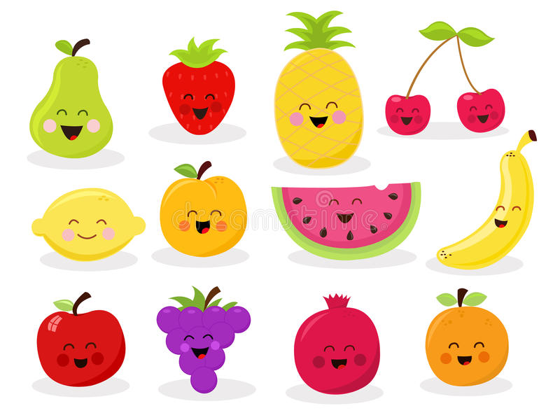 Caracteres lindos de la fruta libre illustration