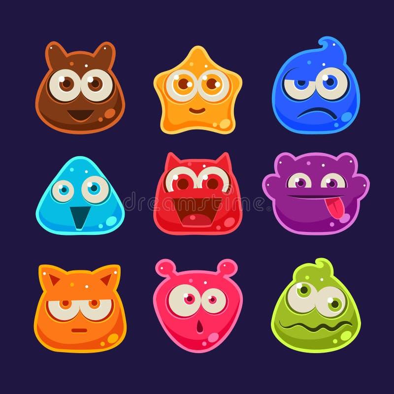 Caracteres lindos de la jalea con diversas emociones stock de ilustración