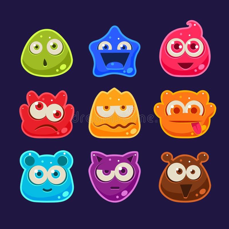 Caracteres lindos de la jalea con diversas emociones ilustración del vector