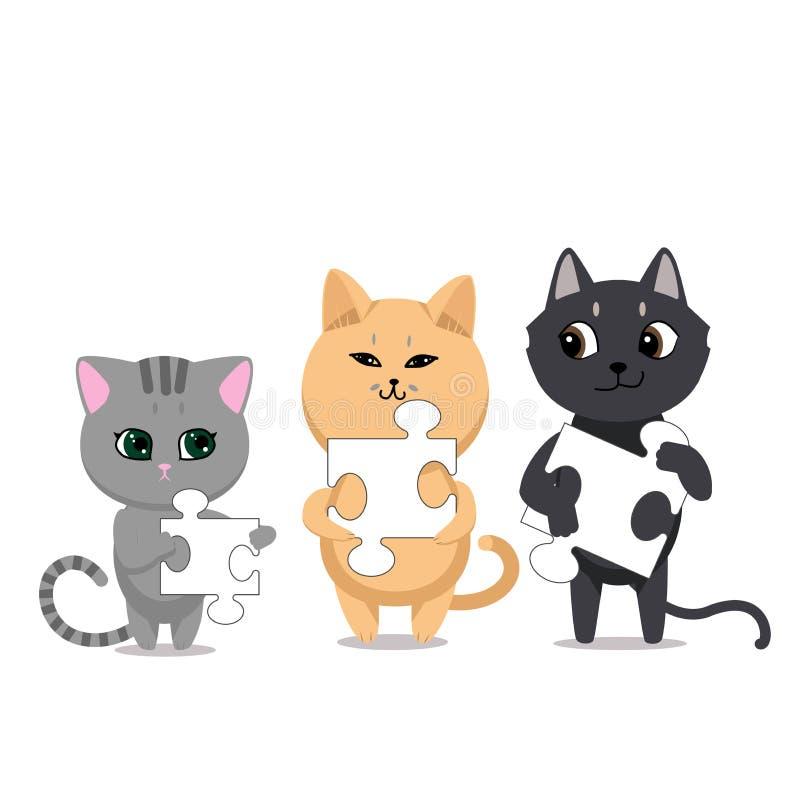 Caracteres lindos de los gatos libre illustration