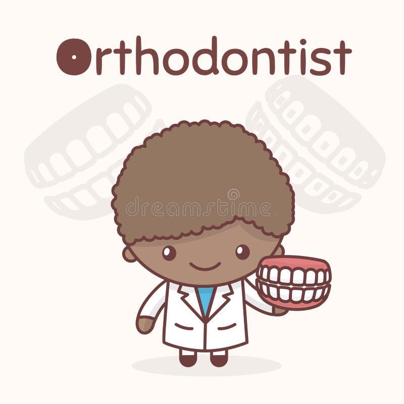 Caracteres lindos del kawaii del chibi Profesiones del alfabeto La letra O - Orthodontist libre illustration