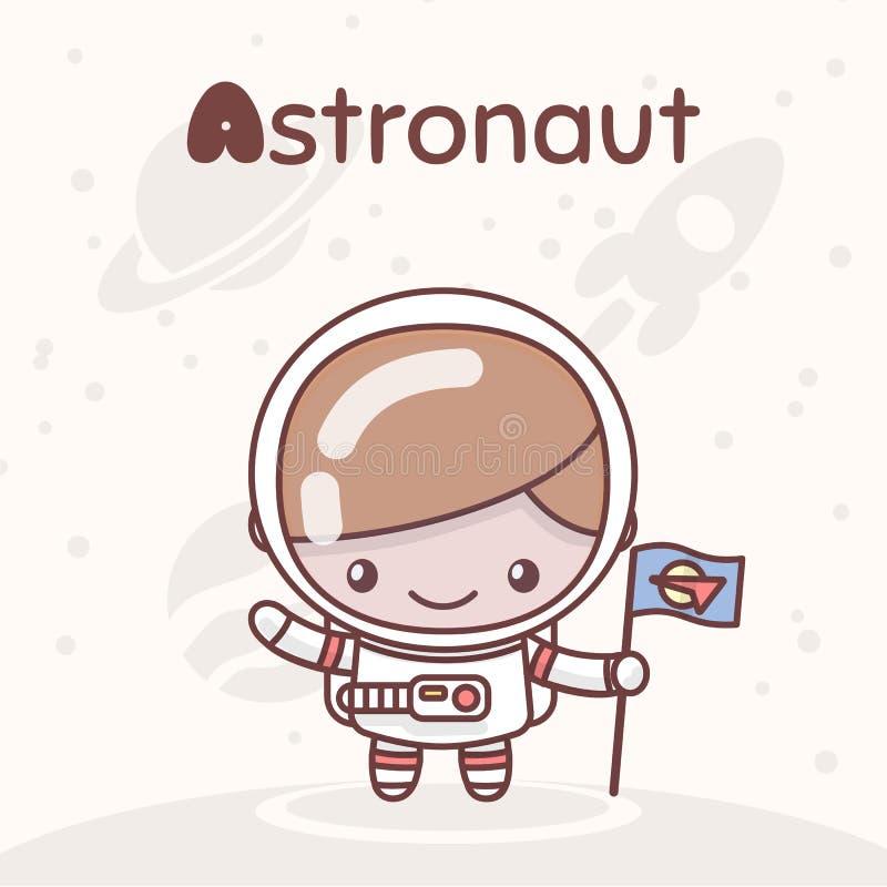 Caracteres lindos del kawaii del chibi Profesiones del alfabeto Letra A - astronauta stock de ilustración