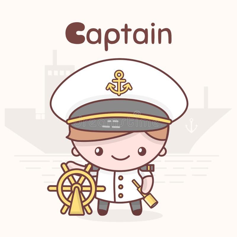 Caracteres lindos del kawaii del chibi Profesiones del alfabeto Letra C - capitán libre illustration