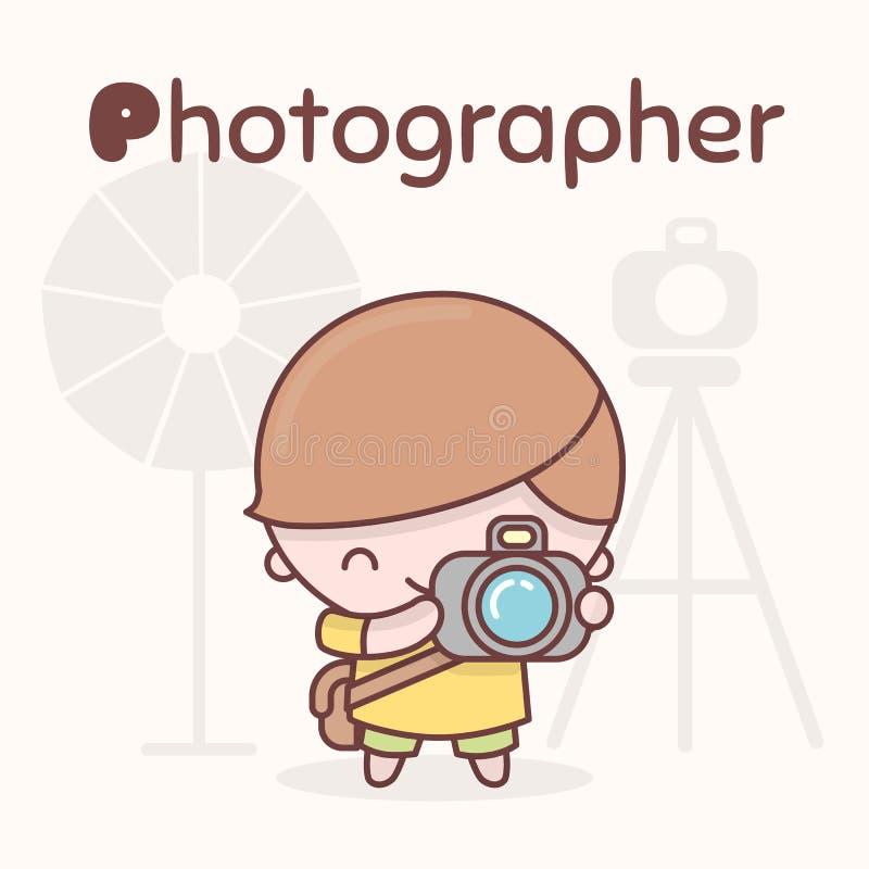 Caracteres lindos del kawaii del chibi Profesiones del alfabeto Letra P - fotógrafo stock de ilustración