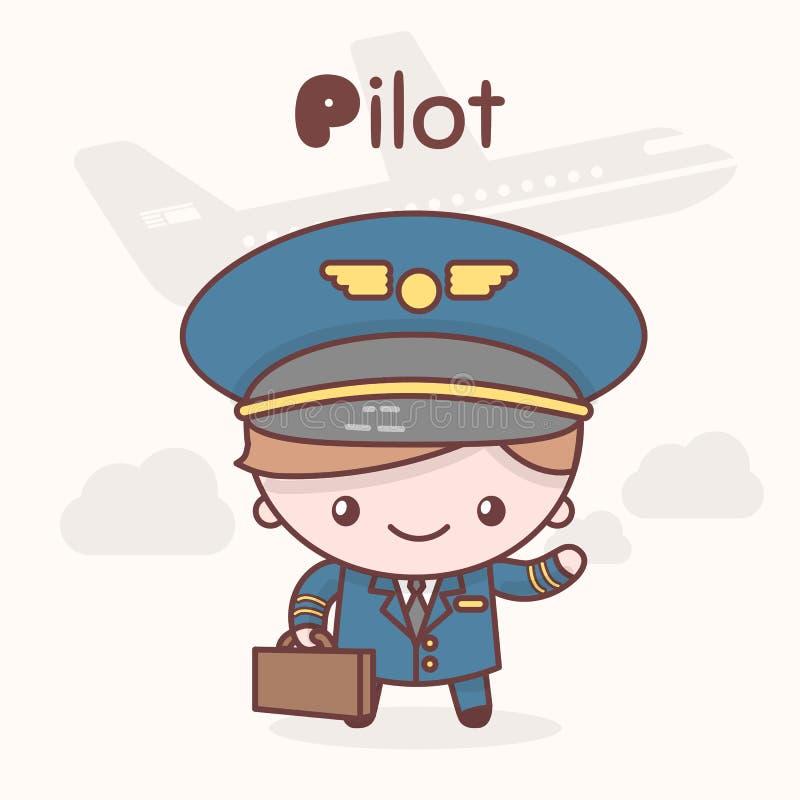 Caracteres lindos del kawaii del chibi Profesiones del alfabeto Letra P - piloto stock de ilustración