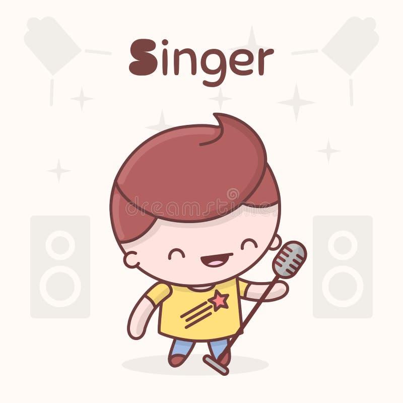 Caracteres lindos del kawaii del chibi Profesiones del alfabeto Letra S - cantante libre illustration