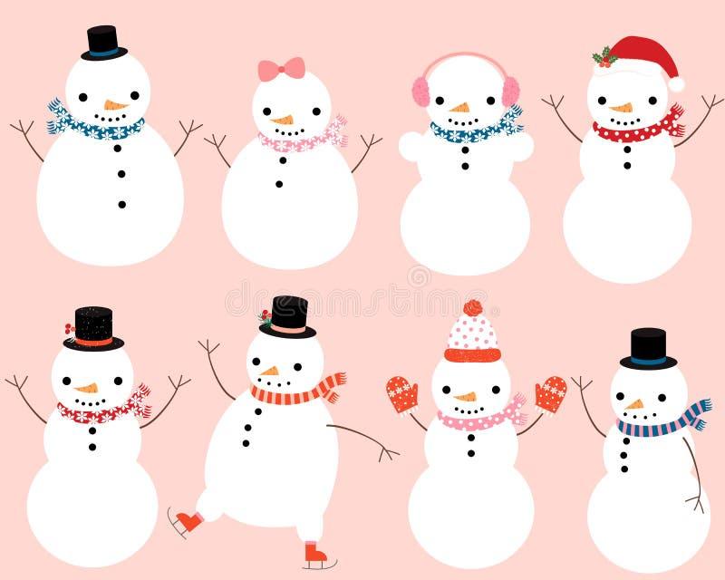 Caracteres lindos del muñeco de nieve stock de ilustración