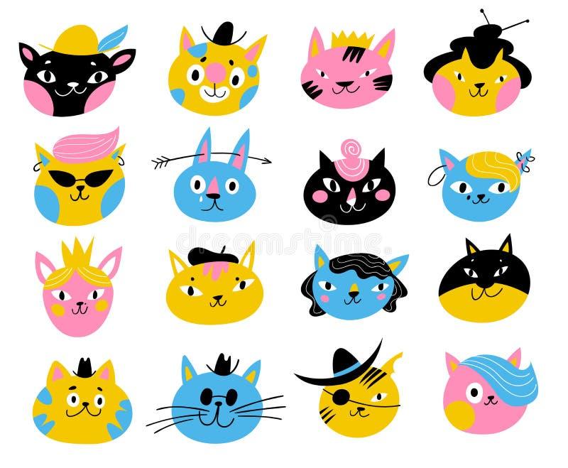 Caracteres lindos del vector de gatos y de gatitos en diversos colores stock de ilustración