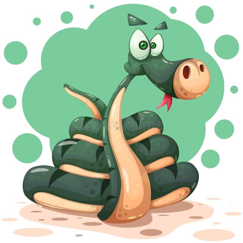 Caracteres lindos, divertidos, locos de la serpiente con el arco ilustración del vector