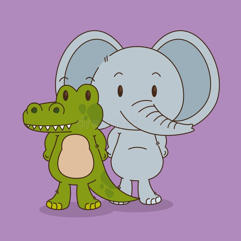 Caracteres lindos y pequeños del elefante y del cocodrilo libre illustration