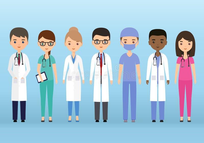 Caracteres médicos Doctores y enfermeras en diseño plano Vector IL stock de ilustración