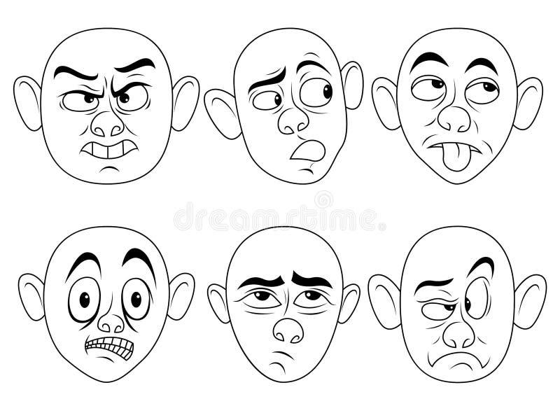 Caracteres masculinos graciosamente fijados ilustración del vector