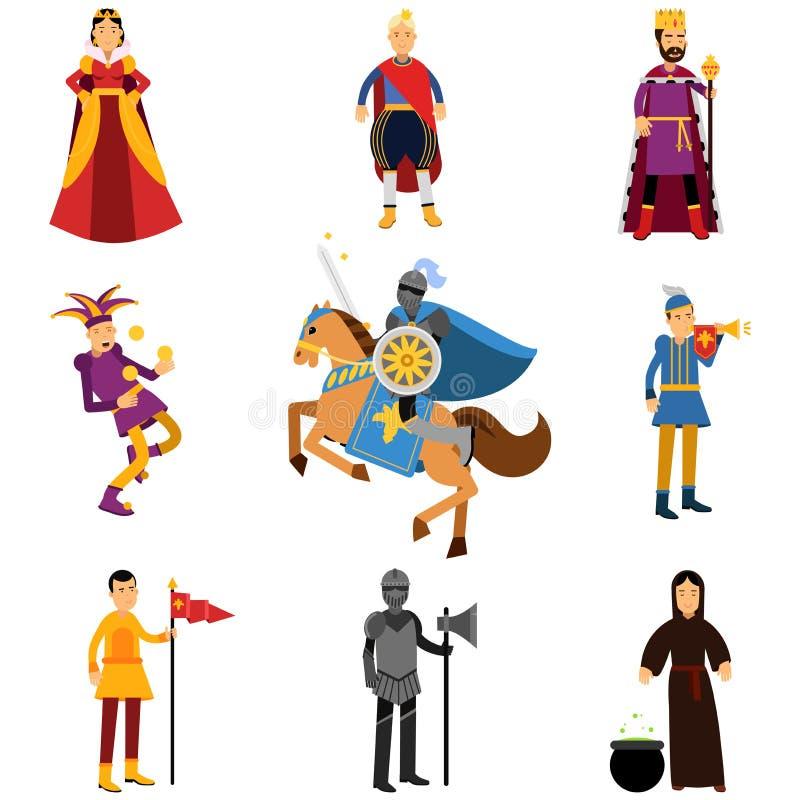 Caracteres medievales en los trajes históricos del sistema medieval de Europa de ejemplos libre illustration