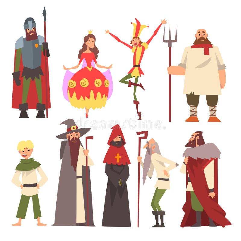 Caracteres medievales europeos sistema, caballero, mago, rey, princesa, campesino, bufón, gente en vector histórico de los trajes ilustración del vector