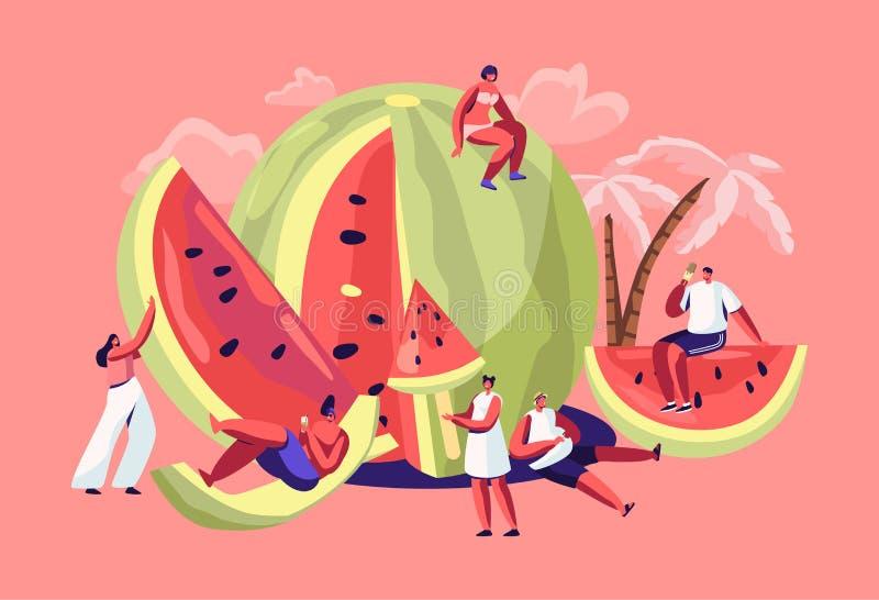 Caracteres miniatura en el traje de baño que se relaja en la sandía madura de restauración enorme Tiempo de verano, grupo de pers libre illustration