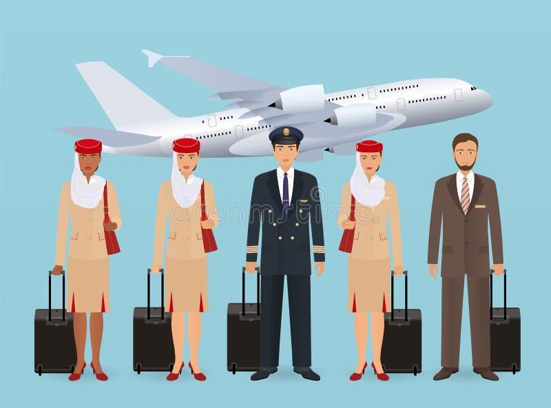 Caracteres musulmanes del piloto y de las azafatas en el uniforme que se coloca en fondo de los aviones del vuelo Concepto del em libre illustration