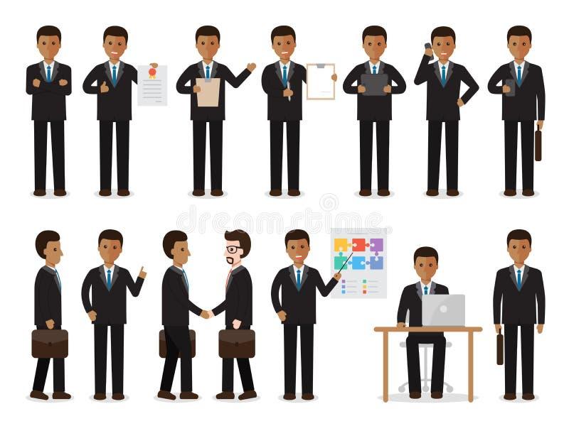 Caracteres negros del hombre de negocios ilustración del vector