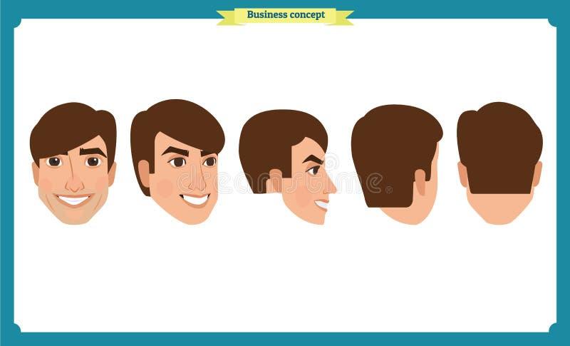 Caracteres planos de la gente del diseño Avatares del negocio fijados Vector aislado en blanco stock de ilustración
