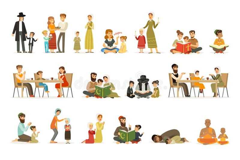 Caracteres planos de la gente del vector de diversas religiones fijadas Judíos, católicos, musulmanes, budistas Familias en nacio ilustración del vector