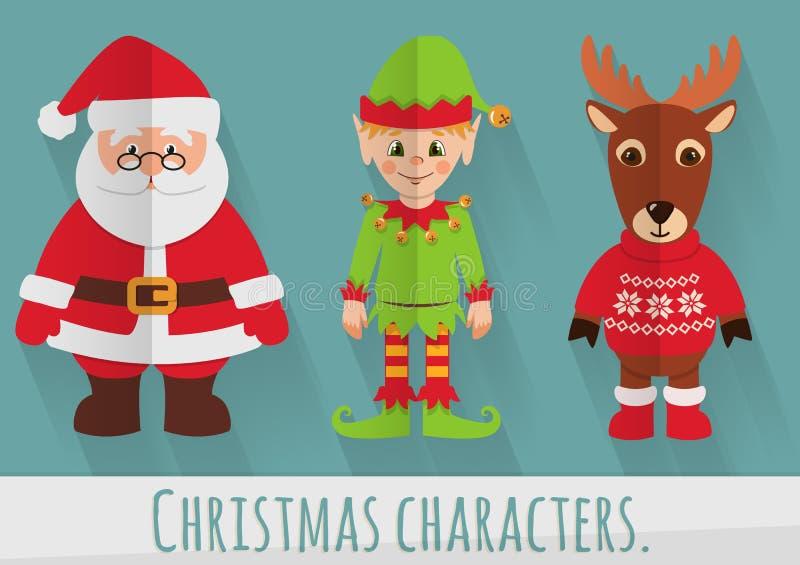 Caracteres planos de la Navidad: Papá Noel, duende y reno Sistema del vector ilustración del vector