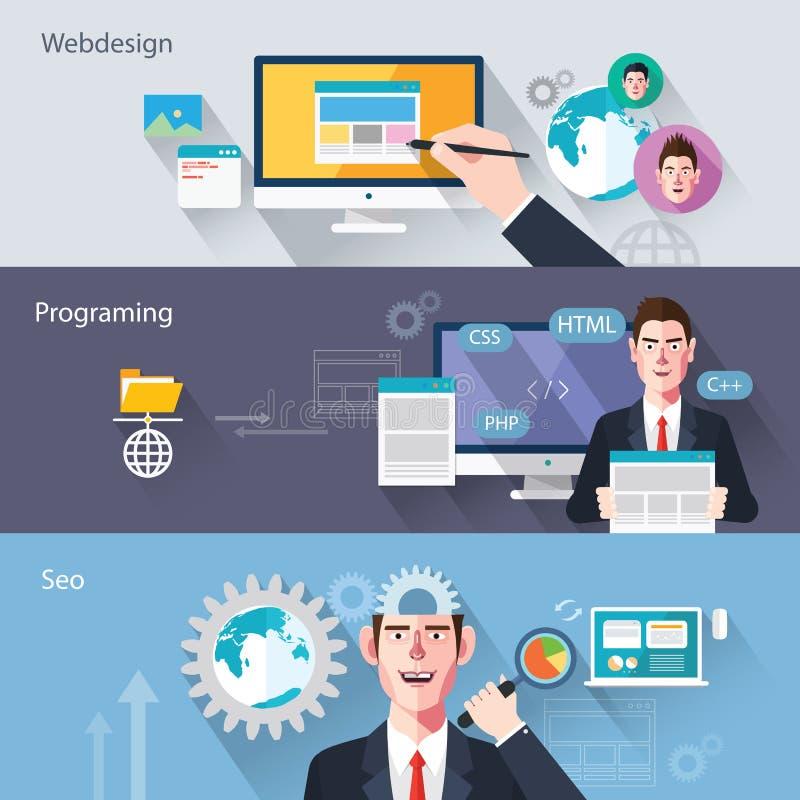 Caracteres planos de los ejemplos del concepto del desarrollo web ilustración del vector