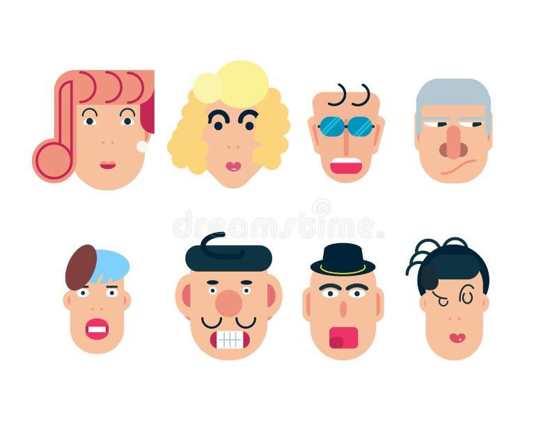 Caracteres planos del vector Avatares del vector con los ojos gente feliz sonriente Emociones felices Retratos del vector libre illustration