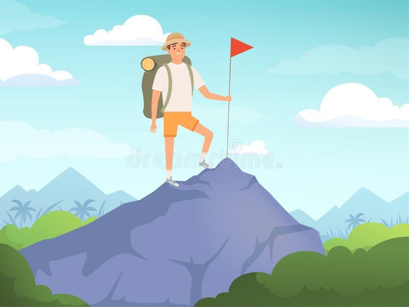 Caracteres que acampan Caminar concepto del vector de la naturaleza de la gente del fondo que viaja stock de ilustración