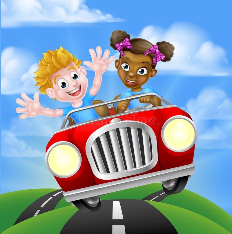 Caracteres que conducen el coche stock de ilustración