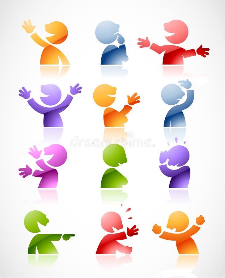 Caracteres que hablan coloridos ilustración del vector