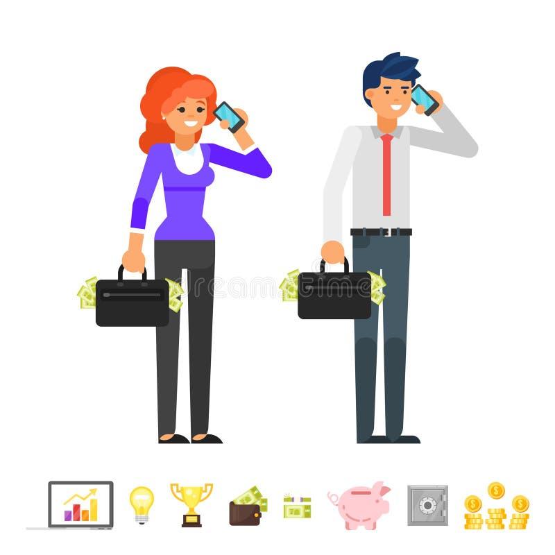 Caracteres que hablan en el teléfono libre illustration