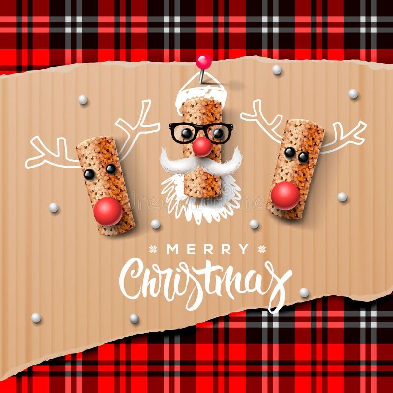 Caracteres, Santa Claus y reno de la Navidad ilustración del vector