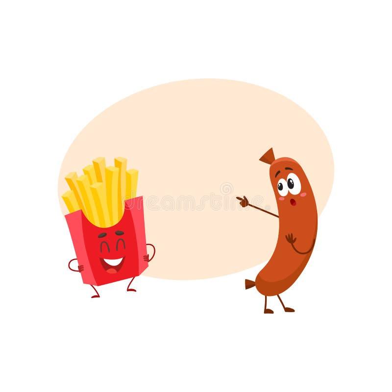 Caracteres sonrientes divertidos de la salchicha y de las patatas fritas, concepto de los alimentos de preparación rápida libre illustration
