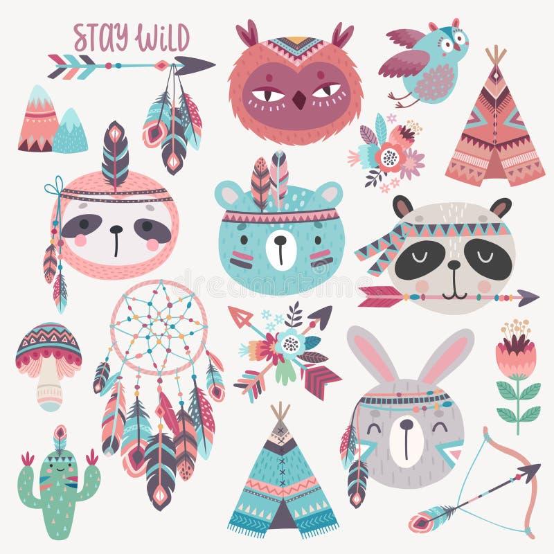Caracteres tribales del boho lindo del arbolado, conejo, búho, pereza, panda, oso ilustración del vector
