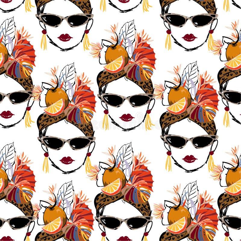 Caracteres tropicales exhaustos de las mujeres de La Habana de la mano con el modelo inconsútil de la historieta del humor del ve stock de ilustración